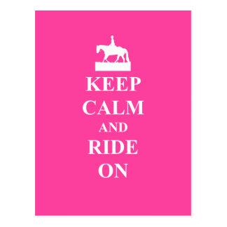 Keep calm & ride on (pink) postcard