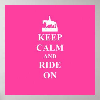 Keep calm & ride on (pink) print