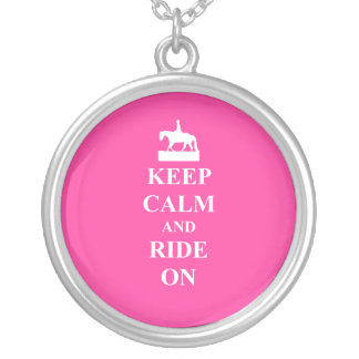 Keep calm & ride on (pink) silver plated necklace