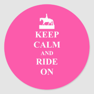 Keep calm & ride on (pink) stickers