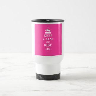 Keep calm & ride on (pink) travel mug