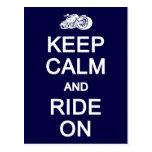 Keep Calm & Ride On postcard, customize