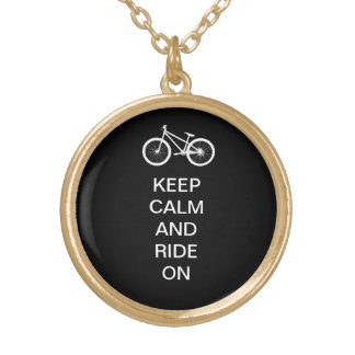 Keep Calm Ride On Round Pendant Necklace