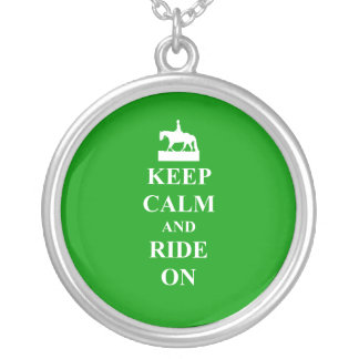 Keep calm & ride on silver plated necklace