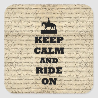 Keep calm & ride on square sticker