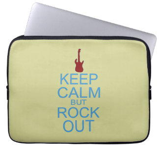 Keep Calm Rock Out – Parody -- Beige Background Laptop Sleeve