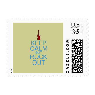 Keep Calm Rock Out – Parody -- Beige Background Postage