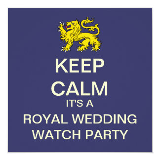 KEEP CALM Royal Wedding Party Invite (Lion - Blue)