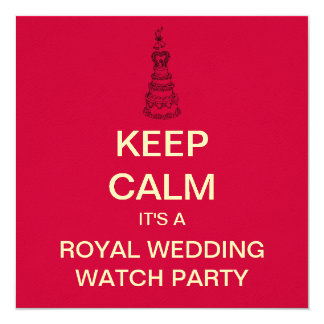 KEEP CALM Royal Wedding Party Invite (Red Square)