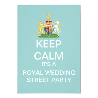 KEEP CALM Royal Wedding Street Party Invite (Blue)