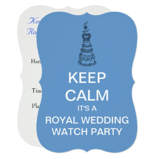 KEEP CALM Royal Wedding Watch Party Invite (Blue)