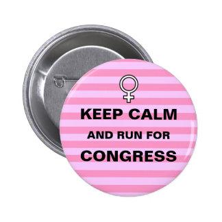 Keep Calm Run for Congress Button