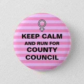 Keep Calm Run for County Council Button
