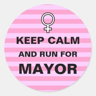 Keep Calm Run for Mayor Classic Round Sticker