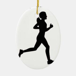 Keep calm & run on ceramic ornament