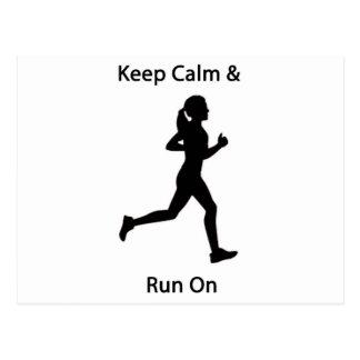 Keep calm & run on postcard
