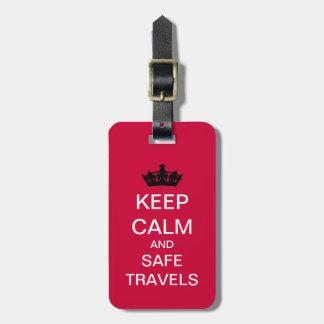 Keep Calm Safe Travels Custom Luggage Tag