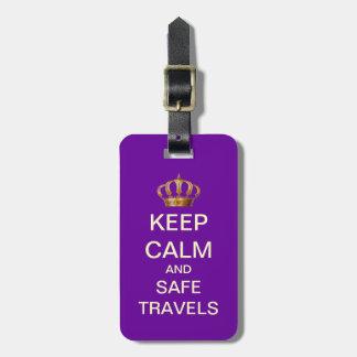 Keep Calm Safe Travels Custom Luggage Tag (Purple)