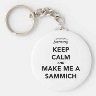 KEEP CALM; SAMMICH TIME BASIC ROUND BUTTON KEYCHAIN