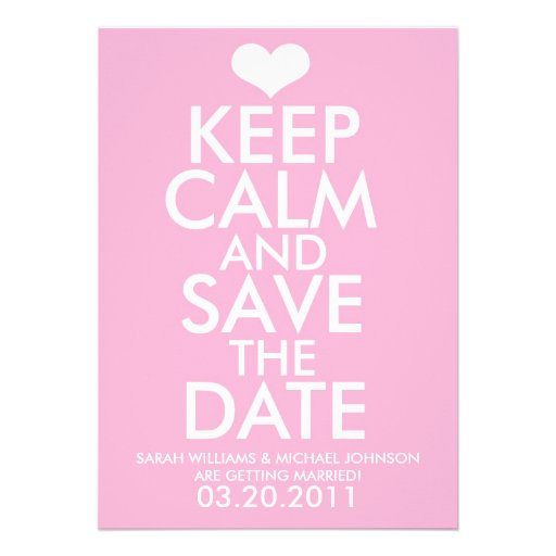 Keep Calm & Save the Date Invite