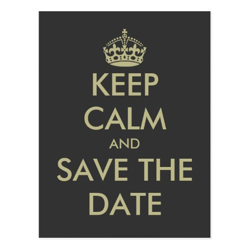 Keep calm save the date postcard   Faux gold