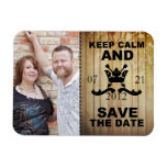 Keep Calm & Save the Date Wood Plank Magnet