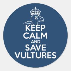 Round Sticker with Keep Calm & Save Vultures design