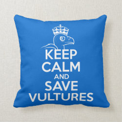 Cotton Throw Pillow with Keep Calm & Save Vultures design