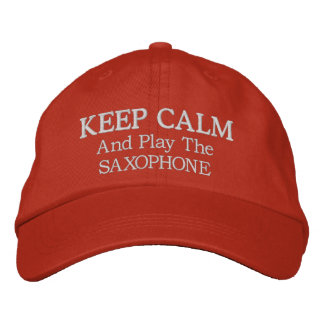 Keep Calm Saxophone Music Embroidered Hat