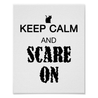 Keep Calm Scare On cat print