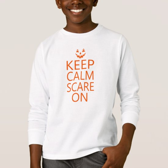 Keep Calm Scare On Halloween Unisex Kids Pumpkin T-Shirt