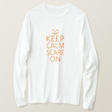 Halloween Themed Keep Calm Scare On Pumpkin Face Unisex Tee