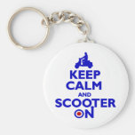 Keep Calm Scooter On (Blue) Keychain
