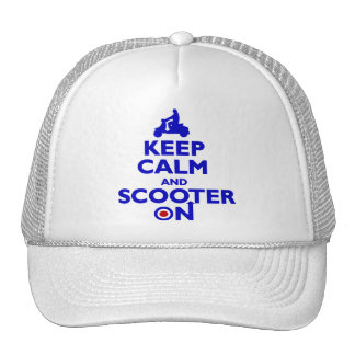 keep Calm Scooter On (blue) Mens cap Hats