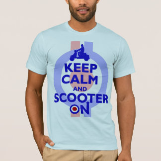 keep Calm Scooter On (blue) Mens T-shirt