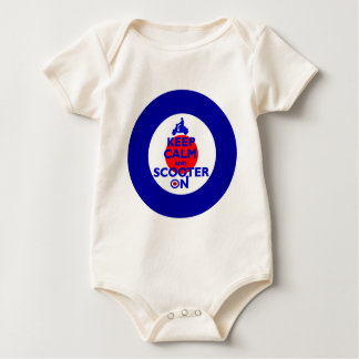 Keep Calm Scooter on Mod target Baby Bodysuit