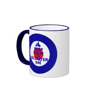 Keep Calm Scooter on Mod target Ringer Coffee Mug
