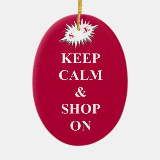 keep calm & shop on ceramic ornament