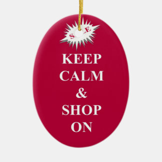 keep calm & shop on ceramic oval decoration