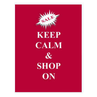 keep calm & shop on postcard