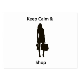 Keep calm & shop postcard