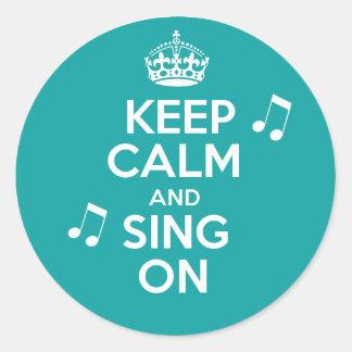 Keep Calm & Sing On Classic Round Sticker