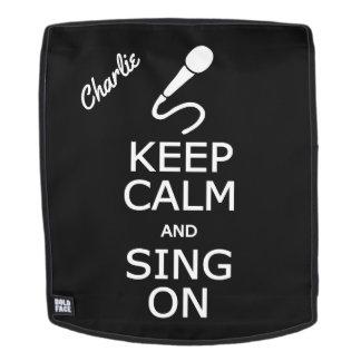 Keep Calm & Sing On custom name & color backpack