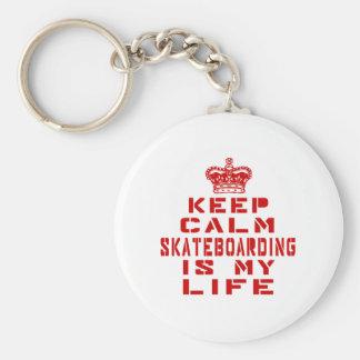 Keep calm Skateboarding is my life Basic Round Button Keychain