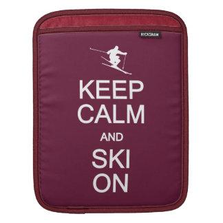 Keep Calm & Ski On custom color iPad sleeve