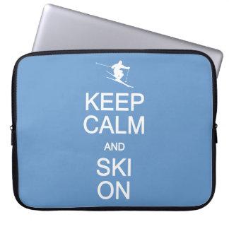 Keep Calm & Ski On custom color laptop sleeve