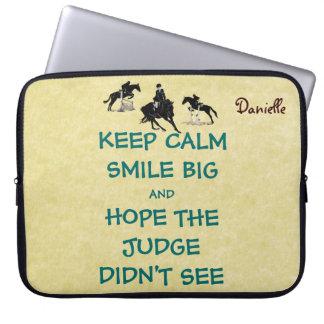 Keep Calm, Smile Big Equestrian Laptop Sleeve