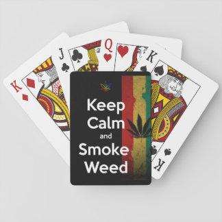 """Keep Calm & smoke weed"" Playing Cards"