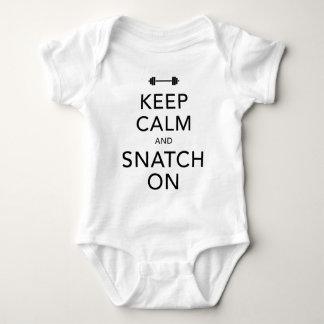 Keep Calm Snatch On Black Baby Bodysuit