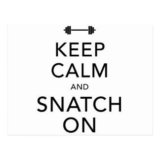 Keep Calm Snatch On Black Postcard